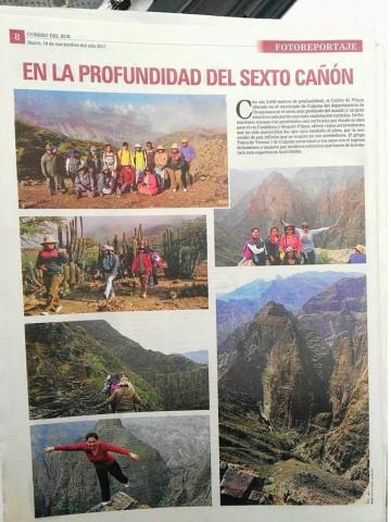 Correo del Sur le dedica una página al Sexto Cañón Más Profundo del Mundo