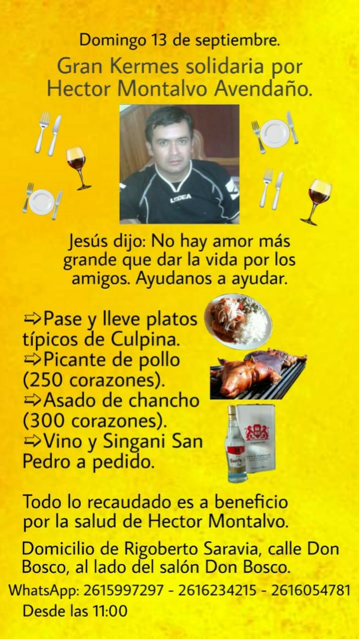 Culpineños en Mendoza invitan a la kermes de solidaridad con Héctor